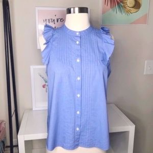 Madewell Blue Sail to sable flutter Ruffle Top S